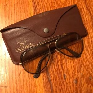 Ray Bans leather trim vintage